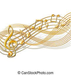 Musikalische Noten im Hintergrund von Weiß.