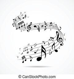 Musikalische Noten sind isoliert