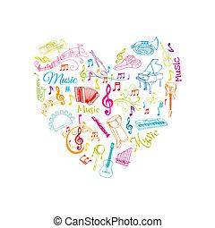 Musikalische Notizen und Instrumente illustrieren - in Vektoren