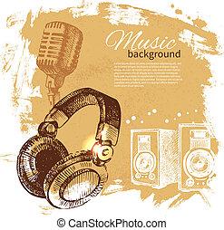 Musikalischer Hintergrund. Hand gemalte Illustration. Splash-Band-Retrodesign mit Kopfhörern