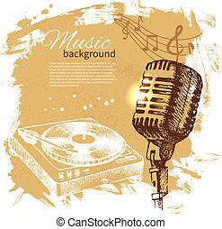 Musikalischer Hintergrund. Hand gemalte Illustration. Splash-Band-Retrodesign mit Mikrofon