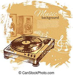 Musikalischer Hintergrund. Hand gemalte Illustration. Splash-Band-Retrodesign mit Plattenteller