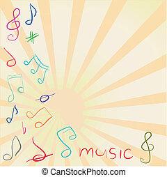 Musikalischer Hintergrund mit zitterndem Riff und Noten.