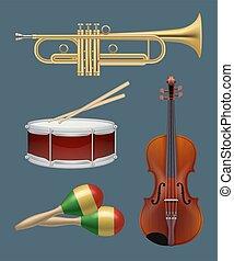 musikalisches, andere, saxophon, instruments., vektor, satz, musik, klavier, instrumente, band, handlich, gitarre, realistisch