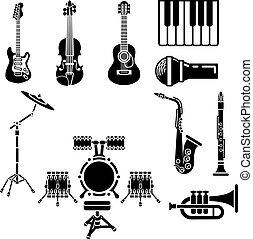 musikalisches, satz, instrument, ikone
