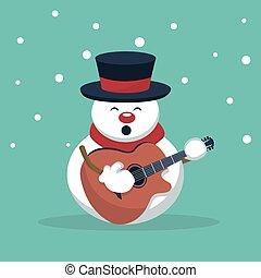 musiker, karte, gitarre spielen, weihnachten, schneemann