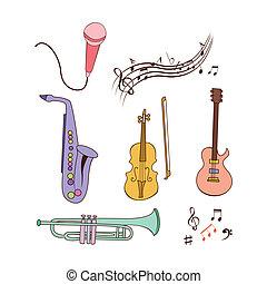 Musikinstrument-Doodle-Set.