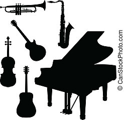 Musikinstrument mit Klavier Vektor
