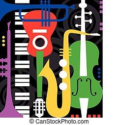 Musikinstrumente auf Schwarz.
