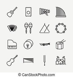 Musikinstrumente Icons skizzieren Vektorgrafik.