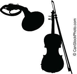 Musikinstrumente Vektor Silhouette