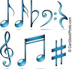 Musiknotation blaue Glassymbole.