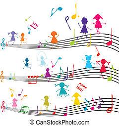 Musiknote mit Kindern, die mit den Musiknoten spielen