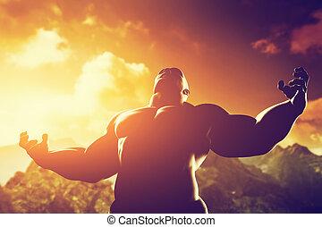 Muskelstarker Mann mit Helden, athletische Körperform, der seine Kraft und Stärke ausdrückt.
