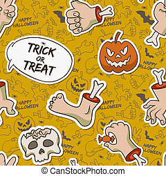 muster, halloween, karikatur, seamless