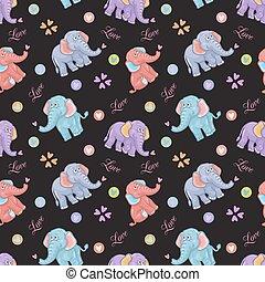 muster, kinder, seamless, elefant