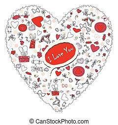 Muster mit Valentinsherzen, Zeichnung für Ihr Design.