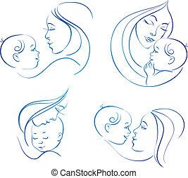 Mutter mit Kind. Ein Set linearer Silhouette-Illustrationen