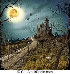 Nacht, Mond und dunkle Burg