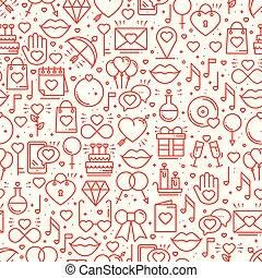 Nahtlose Muster mit Liebessymbolen im Linienstil. Valentinstag. Liebesherz Paar Beziehung mit Hochzeit romantischen Amour Thema. Vector Illustration. Hintergrund.