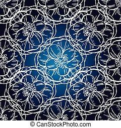 Nahtloses Handmuster, dunkelblauer Hintergrund , Vintage Design, Vektorgrafik.