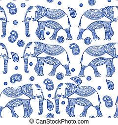 Nahtloses Muster mit hand gezeichnetem Vintagevektor-indianischem Elefant. Zenart stylized.for hindu, african, indian, thai, boho design, spirituell Print, Wickling und Textilien.