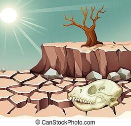 natürlich, dürre, katastrophe
