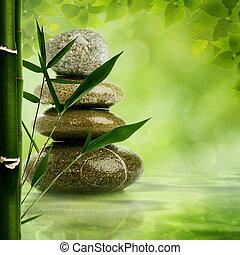 Natürliche Zen-Hintergründe mit Bambusblättern und Kiesel für dein Design