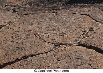 Native hawaiianische Petroglyphen