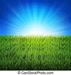 Natur sonnigen Hintergrund mit grünem Gras.