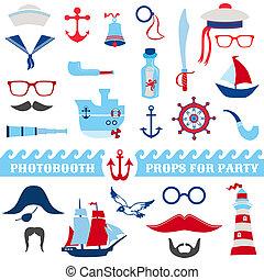Nautical Party Set - photobooth props - Gläser, Hüte, Schiffe, Schnurrbart, Masken - in Vektor.