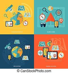 Navigations-Icon-Flachbild eingestellt.