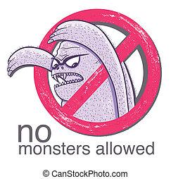 nein, allowd, monster, zeichen