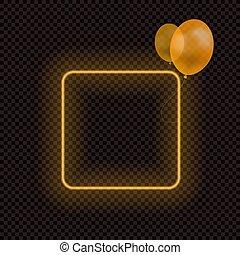 neon, durchsichtig, rahmen, vektor, orange, freigestellt, frame., luftballone, leer, halloween, dunkler hintergrund