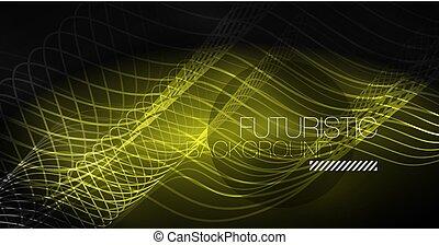 Neon-Linien winken Hintergrund. Abstract Komposition