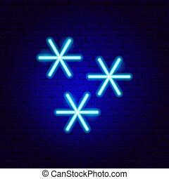 neon zeichen, schneeflocken