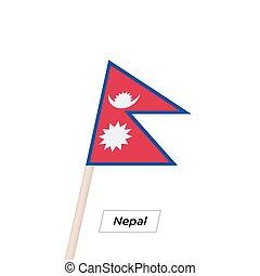 Nepal Bandwappen Fahne isoliert auf weiß. Vector Illustration.