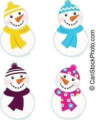 Nette farbenfrohe Schneemännersammlung, isoliert auf weiß