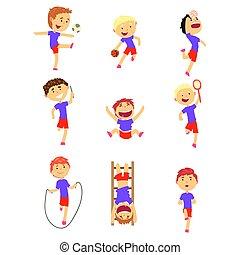 Nette Jungs, die Sport treiben. Activity Kids spielen farbenfrohe Cartoon Illustrations