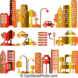 Nette Vektor-Illustration einer Abendstadtstraße