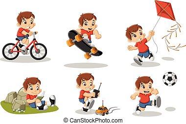 Netter, glücklicher Cartoon-Junge