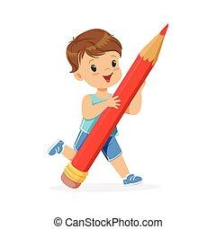 Netter kleiner Junge mit riesigem roten Zeichentrickfilm-Vektor Illustration.