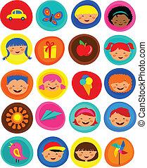 Nettes Kindermuster mit Ikonen, Vektor Illustration