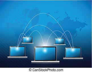 Netzwerk-Labor-Verbindungs-Illustrationsdesign