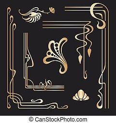 neu, dekorativ, satz, kunst, elements., vektor