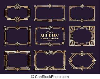 neu, goldenes, deco, kunst, weinlese, 1920s, ornament., rahmen, vektor, luxus, stil, geometrisch, ränder, abstrakt, elemente, set.