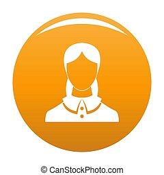 Neue weibliche Avatar Ikone orange