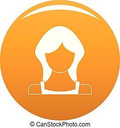 Neue weibliche Benutzer Icon Vektor Orange