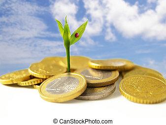 Neues Wachstum von Euro-Münzen - Finanzkonzept