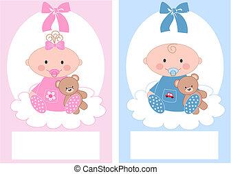 Neugeborener Babyboy und Baby-Mädchen.